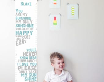 Custom/ Personalized You Are My Sunshine canvas growth chart in blue and gray - boy or gender neutral nursery decor or baby shower gift