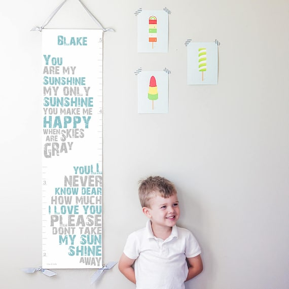 "Personalized ""You Are My Sunshine"" canvas growth chart in blue and gray"