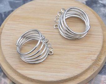 50 Silver metal rings, finger rings, blanks rings, 5 hoop 5 wire ring, metal wire ring, Jewelry rings tray 18mm