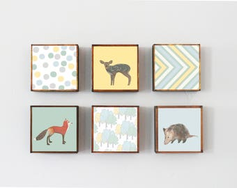 woodland nursery art-  forest nursery decor, Choose (6) SIX of our Custom Designs 5x5, forest nursery art, animal prints,  redtilestudio