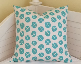 Quadrille China Seas Obi  Suncloth in Turquoise and White Indoor Outdoor Designer Pillow Cover