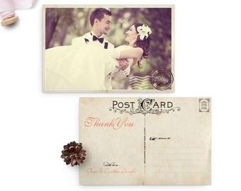 """Rustic Vintage Wedding Thank You Card, 4x6, Wedding Thank You Card, the """"Cynthia"""""""