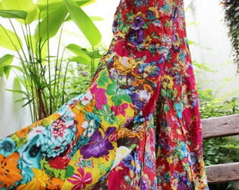 PATCHWORK Floral Printed Cotton Boho Gypsy Wide Leg Pants - OMP1708-05