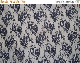 ON SALE SPECIAL--Dark Navy Allover Lightweight Floral Lace Fabric--One Yard