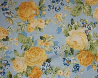 Yellow on Sky Blue Scattered Roses Floral Print Pure cotton Fabric--By the Yard