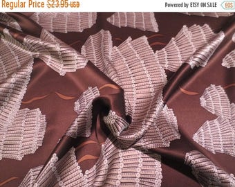 ON SALE Clever Arty Print Chocolate Brown and Beige Pure Silk Charmeuse Fabric--By the Yard