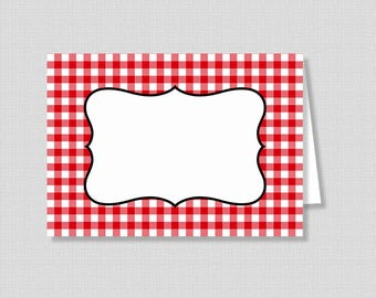 Food Tent Cards, Red Check Food Labels, BBQ, Picnic, Blank Non Editable, Shower Place Cards, diy Printable, INSTANT DOWNLOAD