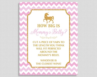 How Big is Mommy's Belly Printable Sign, Pink and Gold Glitter Unicorn Baby Shower Game Sign, Baby Girl, INSTANT DOWNLOAD