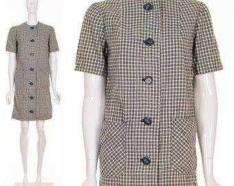 Vintage 60s MOD LINEN Minamal Dress Black White Gingham Plaid Dress Minidress Small