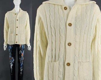 MOVING SALE Cable Knit Cardigan Sweater Cream Button Down Jumper 70's Vintage Sweater Small