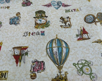 """Adventure,hot air balloon,owl,cat,camera,Retro- 1 yard - cotton linen - 3 colors ,Check out with code """"5YEAR"""" to save 20% off"""