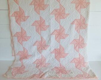 Vintage Quilt, Pinwheel Pattern, Peach and White