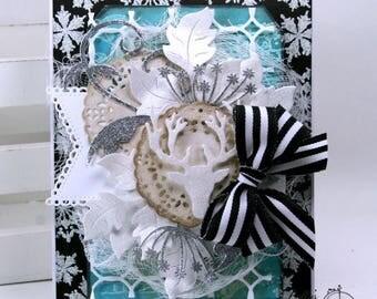 Modern Winter Woodland Christmas Greeting Card Polly's Paper Studio Handmade