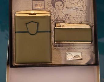 Rolfs Green Leather Cigarette Case & Lighter