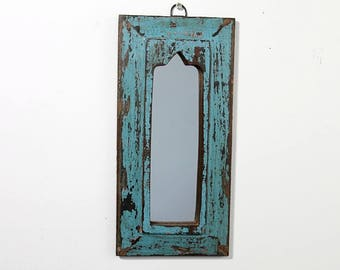 Moroccan Mirror Distressed Bright Blue Boho Decor Turkish Interior Distressed Wood Wall Mirror