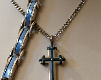 Cross Necklace Set, Stainless Steel, THIN*BLUE*LINE Cross, Chain, Bracelet, Earrings,  Convertible Hoops, Handcuff Charms, Officers, Support