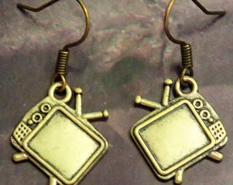 Elegant Antique Bronze Television Earring