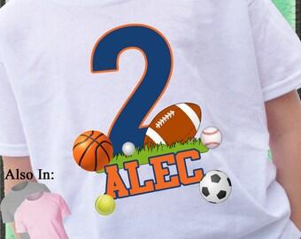 Custom Big Number FOOTBALL all Sports Birthday shirt boy or girl T-shirt  ball goal grass player personalized name 1,2,3,4,5,6,7,8,9