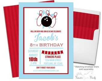 Bowling Party Invitation, Bowling Birthday Invitation, Printable Bowling Invitation, Kids Bowling Party, Bowling Party Invite, Red and Blue