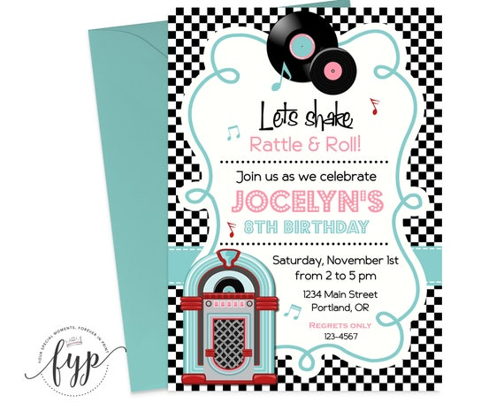 Sock Hop Birthday Invitation Printable Girls Birthday Invite 50s