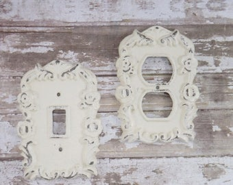 on sale cream light outlet cover outlet cover plate shabby chic decorative - Decorative Switch Plate Covers