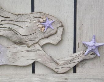 Wood Mermaid Wall Decor~ Lavender~X Large Mermaid ~Mermaid ~Mermaid Wall Art~Mermaid Wall Decor~Mermaid Decor~Nautical~Mermaid Wall Dec