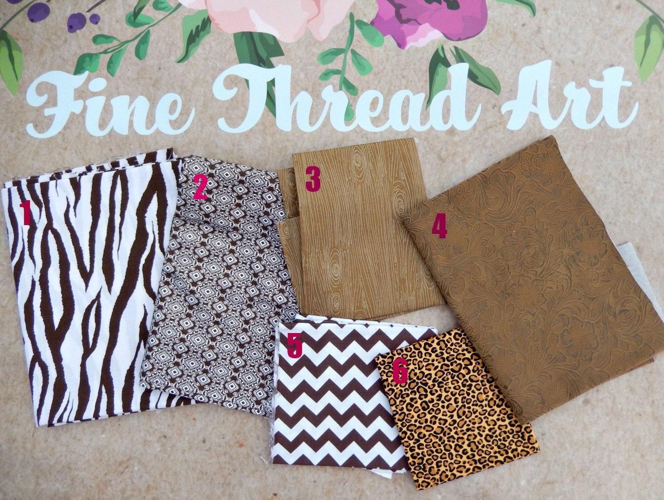 Brown Tan Khaki Neutral Applique Fabric