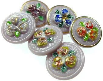 Group of 6 glass buttons