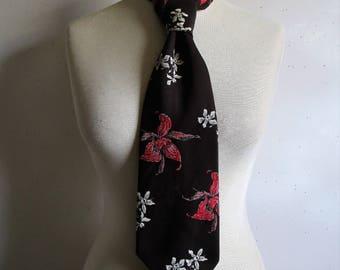 Vintage Louis Feraud 70s Necktie Dark Brown Fuchsia 1970s Orchid Wide Mens Designer Necktie