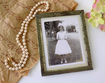 Mid Century Vintage Photography Print. Black and White Bridal Photo Wedding Picture. Metal Frame. Romantic Home Decor. Shabby Cottage Chic.