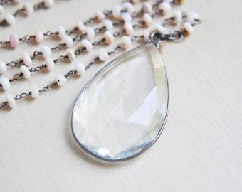 Crystal Necklace, Opal Necklace, Pink Opal Necklace, Opal and Crystal, Opal Jewelry, Crystal Jewelry, Opal Y Necklace, Crystal Y Necklace