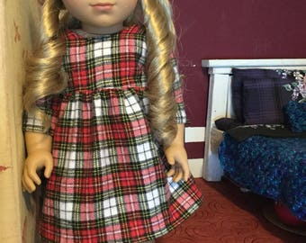 Red plaid flannel dress for American girl size dolls