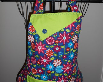 Multi Colored Flowers on a Navy Background Women's Apron