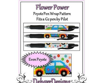 Peyote Beading Pattern (Pen Wrap/Cover)-Flower Power