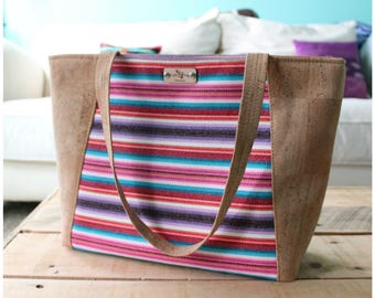 Everyday tote bag - cork leather handbag - cork purse - cork tote bag -tote bag - cork travel bag - aztec handbag - aztec purse - summer bag