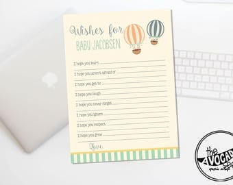 Up Up and Away - Baby Shower Wishes Activity Sheet - DIY Printing or Professional Prints via Convo