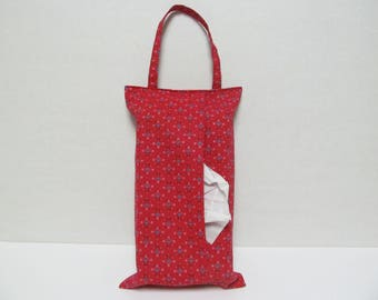 Hanging Tissue Box Cover For 85Count Kleenex/Blue Hearts On Red