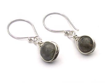 Labradorite Earrings Sterling Silver Wire Wrapped Jewelry