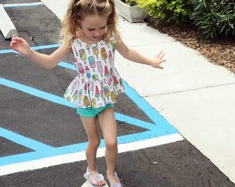 Baby Toddler Girls ice cream crop top and bloomer gym shorts set
