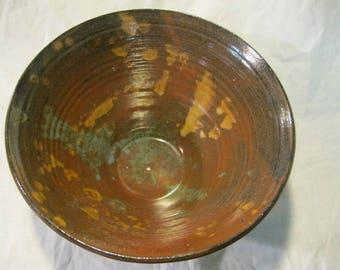 Gorgeous Splashy Large Stoneware Mixing Serving Bowl
