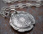 Wachs-Siegel-Halskette, Kompass-Anhänger, bleiben auf Kurs - Talisman, symbolische Herren Schmuck, Kompass Halskette, Polestar, North Star, Herren Geschenk