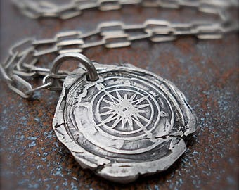 Wax Seal Necklace, Compass Pendant, STAY on COURSE - Talisman, Symbolic MENS Jewelry, Compass Necklace, Polestar, North Star, Mens Gift