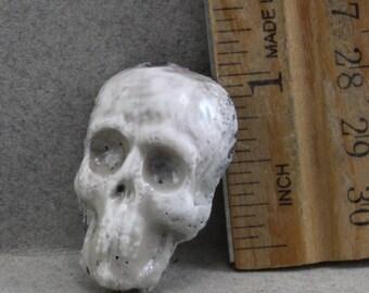 Handmade Raku Skull Cabochon Metallic Reduction Glaze White Oscarcrow