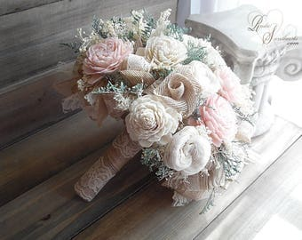 Ready to Ship ~ Will Arrive To You in 2 to 3 Business Days! ~ Large Blush Light Pink Sola Flower Bridal Bouquet