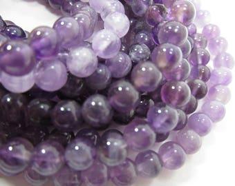 Amethyst Smooth Polished 6mm Round Semiprecious Stone Jewelry Beads