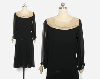 Vintage 20s Silk DRESS / 1920s 2-Tone Black & Ivory Crepe Split Sleeve Party Dress XS
