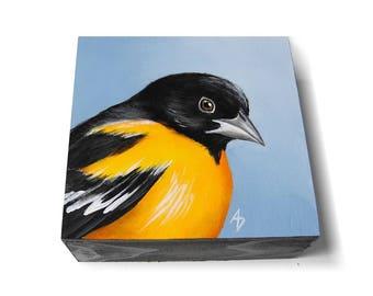 Oriole painting - black and orange bird art - realistic orange songbird painting - Baltimore Oriole - Maryland state bird
