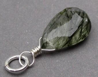 Moss Green Tourmalated Quartz Pendant, Rutile Quartz Charm, Rutilated Quartz, Sterling Silver Wire Wrapped Pendant, Green Rutile, Stone 1