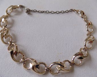 Vintage necklace, well made silver tone articulated choker necklace, retro jewelry,