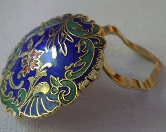 Vintage dress clip, Lovely royal blue,green,and red cloisonne enamel floral dress or collar clip, retro jewelry